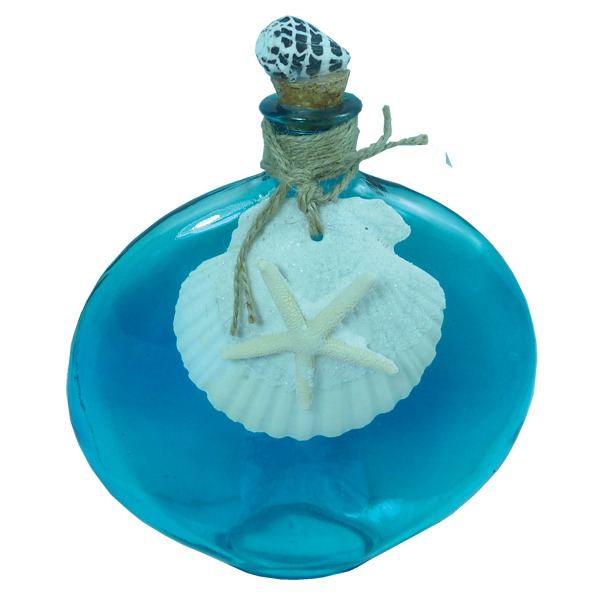 Oval Glass Bottle with Scallop Shell 20cm See Through Blue