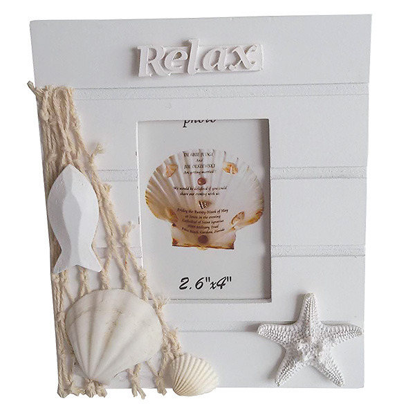 White wooden Photo frame With Beach Sign 15cm